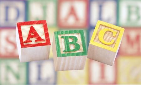 baby blocks: Wooden alphabet blocks Stock Photo