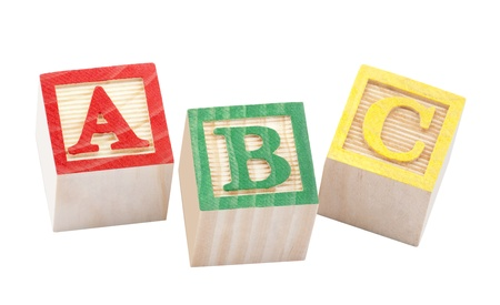 yellow block: Wooden alphabet blocks with clipping path Stock Photo