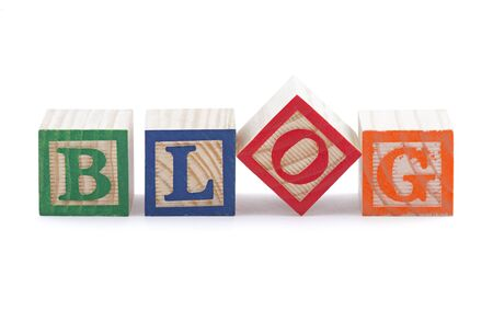 Alphabet blocks spelling the word BLOG with clipping path photo