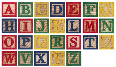 completed: Wooden alphabet blocks isolated on white Stock Photo
