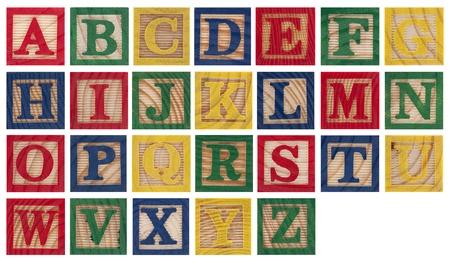 wooden blocks: Wooden alphabet blocks isolated on white Stock Photo