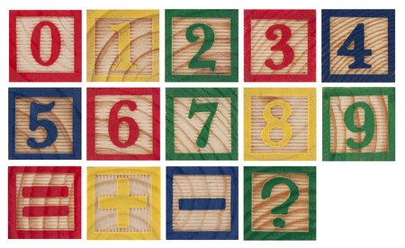 Wooden colorful numbers isolated on white photo