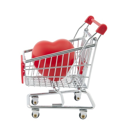 carts: Shopping cart and red heart Stock Photo