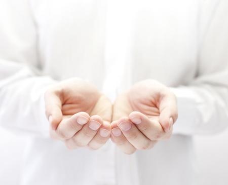 show of hands: Mani aperte. Azienda, dando, visualizzando concetto.