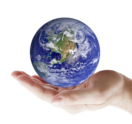 hands holding earth: Earth in hand