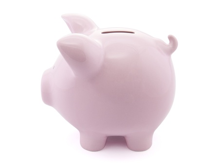 bank deposit: Side view of pink piggy bank with clipping path Stock Photo