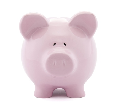 piggy bank money: Front view of pink piggy bank with clipping path