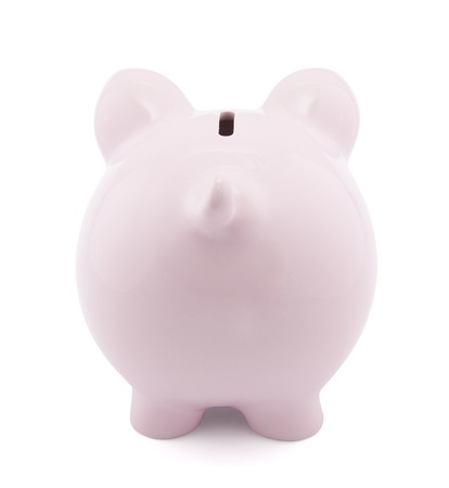 Back view of pink piggy bank with clipping path Stock Photo