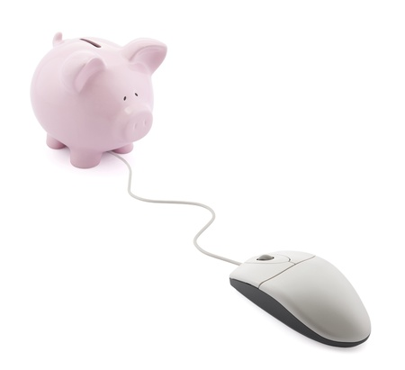 online transaction: Online banking. Piggy bank with computer mouse Stock Photo