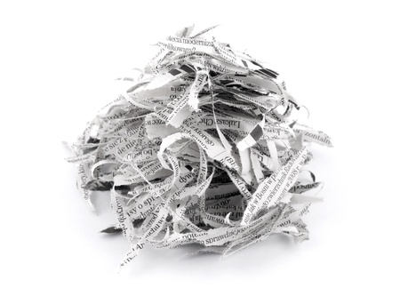 waste paper: Tiras de papel triturado Foto de archivo