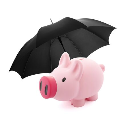 secure money: Financial insurance. Piggy bank with umbrella Stock Photo