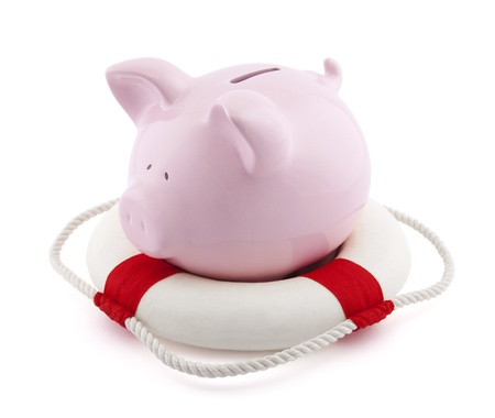 protect: Savings help. Piggy bank with Lifebuoy