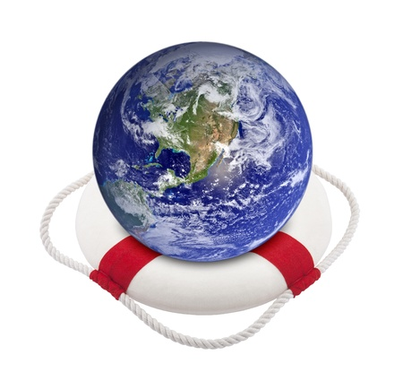 Earth globe in lifebuoy over white photo