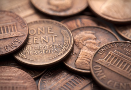 copper coin: American coins Stock Photo