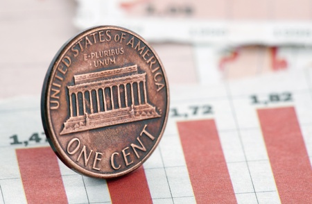 cent: American one cent on newspaper chart