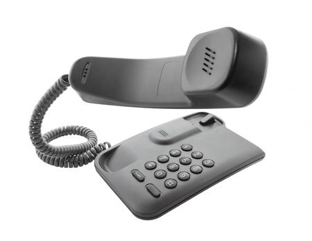 landlines: Black phone with floating handset Stock Photo