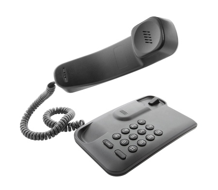 handset: Black phone with floating handset Stock Photo