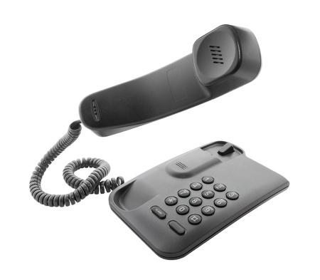 Zwarte telefoon met drijvende handset Stockfoto