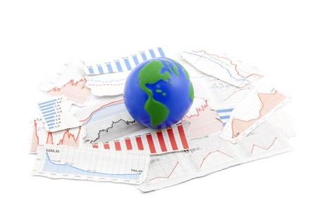 Globe on financial charts photo
