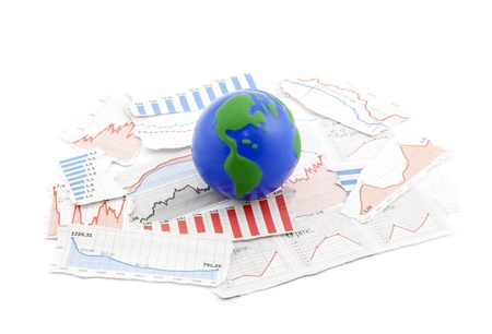 Globe on financial charts photo