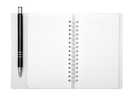 Notebook and pen with clipping path photo