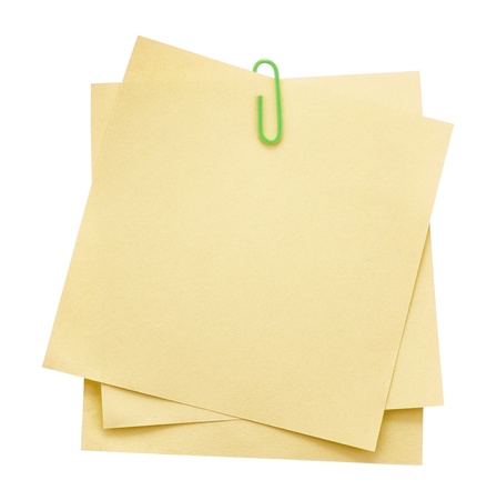 paper note: Memo notes with paper clip Stock Photo