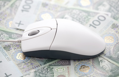 e cash: Computer mouse on polish money