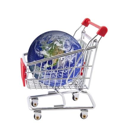 shopping buggy: Shopping cart with globe isolated on white Stock Photo