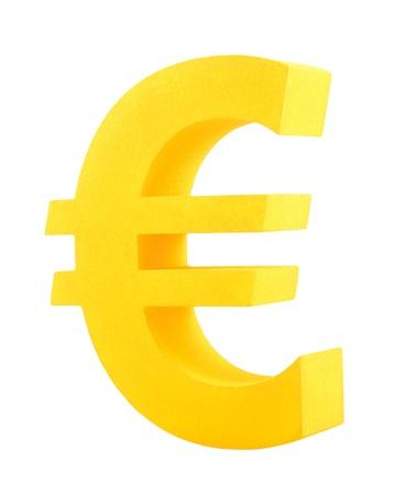 eec: Golden euro symbol isolated on white