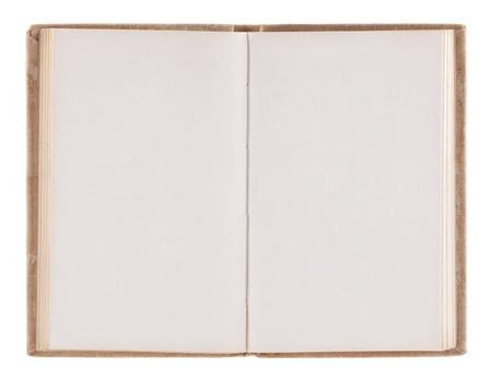 libro abierto: Abra viejo libro en blanco con trazado de recorte Foto de archivo