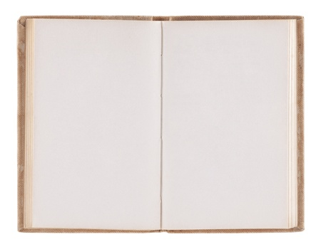 open space: Open old blank book with clipping path