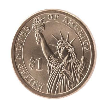 American One Dollar coin with clipping path photo