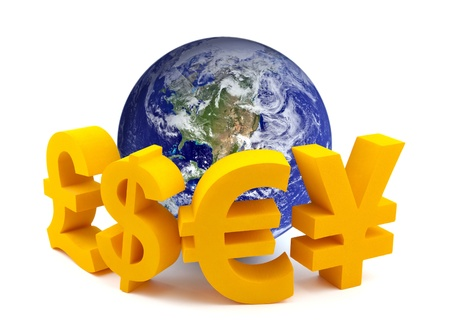 global currencies: Globe with currency symbols Stock Photo