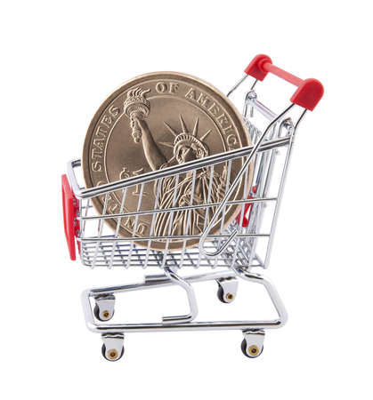 Shopping cart with American One Dollar coin photo