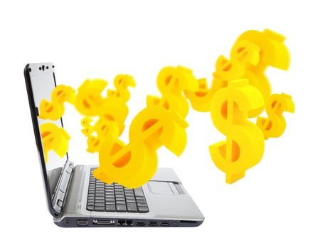 earn money: Online business Laptop with dollar symbols