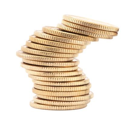 Unstable stack of golden coins photo