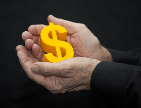 Old hands with dollar symbol Stock Photo - 13087614