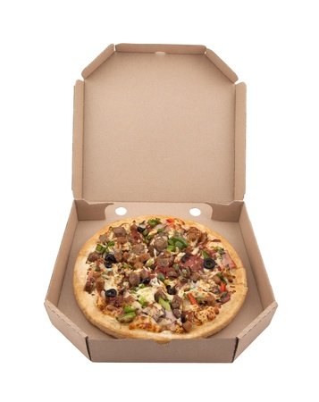Pizza in a cardboard box  Stock Photo - 13087620