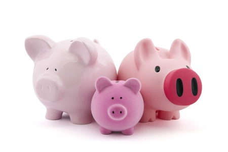 Family of piggy banks with clipping path photo