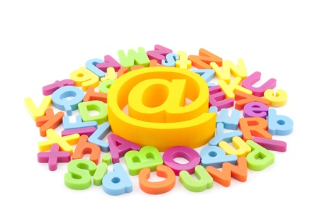 Email symbol and colorful letters on white background Stock Photo - 13087568