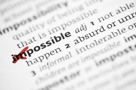 definitions: Possible concept with word impossible in a dictionary
