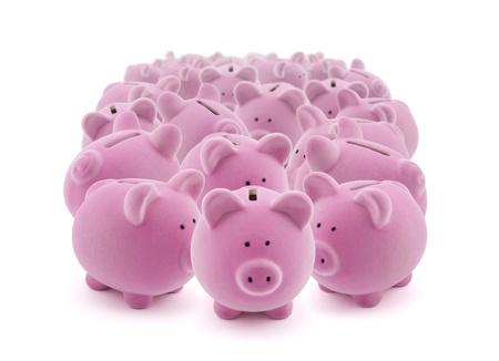bank economic crisis: Large group of pink piggy banks
