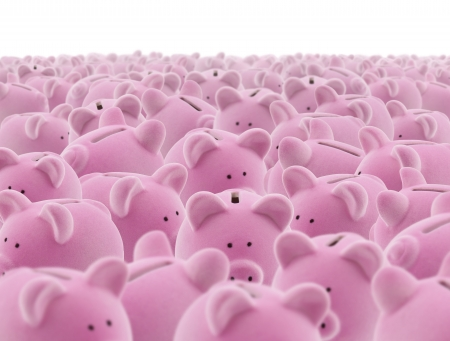 ピンクの貯金箱の大規模なグループ