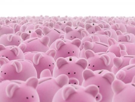 banco mundial: Un grupo grande de color rosa alcancías Foto de archivo