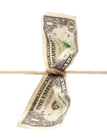 us dollar: American dollar tied in twine with clipping path
