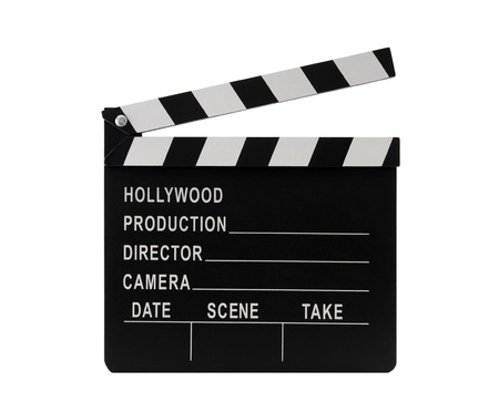 Film clapperboard with clipping path