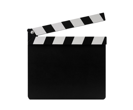 theater sign: Film clapperboard with clipping path