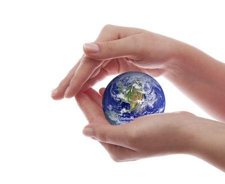 hand holding world: Protect the Earth Stock Photo