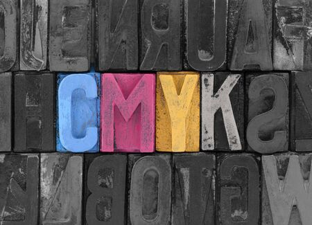 letterpress words: Cmyk made from old letterpress blocks