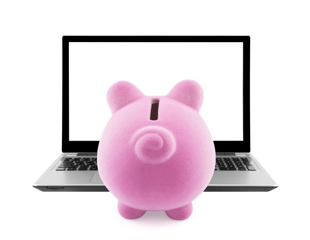 Piggy bank and laptop isolated on white